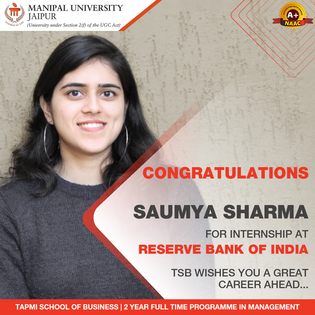 MBA Achiever   TAPMI School of Business   Manipal University Jaipur