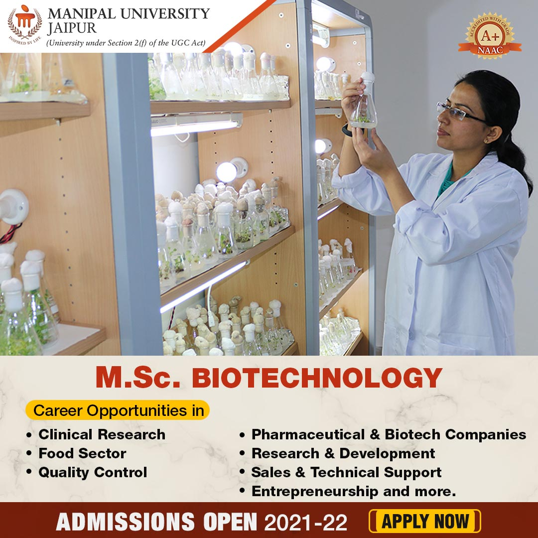MSc Biotechnology Career Opportunities at Manipal University Jaipur